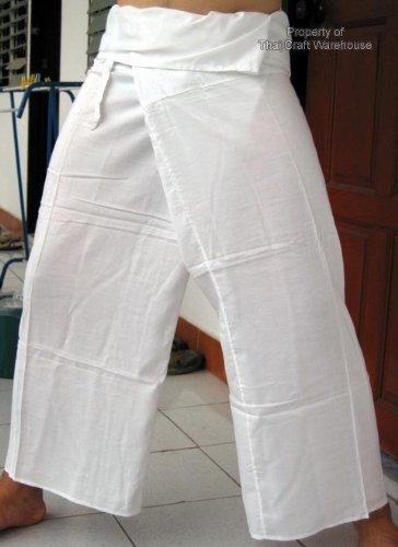 Fine Cotton 1 Tone Thai Fisherman Pants Yoga Trousers Free Size Cotton Thailand