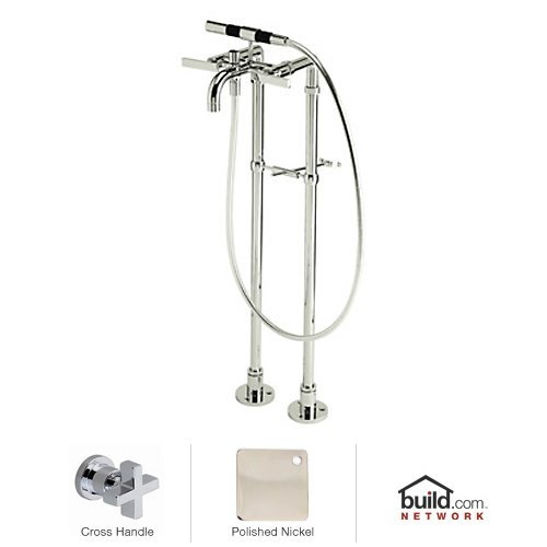 Rohl BA420X-PN Modern Floor Mount Exposed Tub Filler Faucet with Floor Legs and Hand, Polished Nickel ()