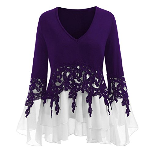 - Women's Applique Flowy Blouse, AgrinTol Fashion Chiffon V-Neck Long Sleeve Strapless Blouse Tops Purple