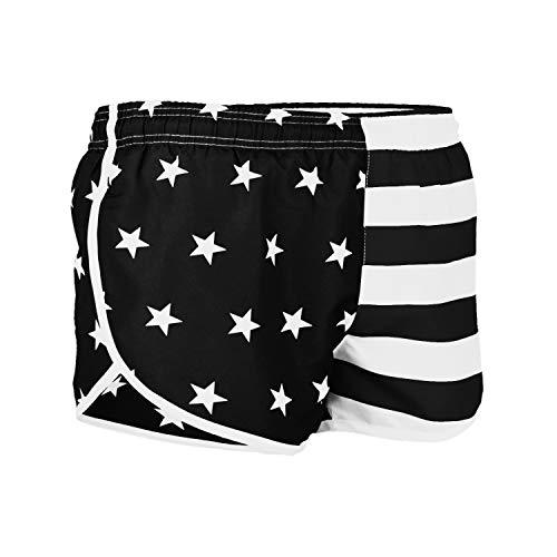 VBRANDED Men's American Flag Side Split Running Shorts X-Large Black/White ()