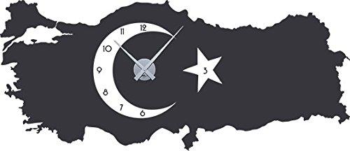 GRAZDesign 800211_SI_073 Wandtattoo Uhr Türkei | Wanduhr mit Uhrwerk für Wohnzimmer | Klebefolie Selbstklebend (132x57cm//073 Dunkelgrau//Uhrwerk Silber)