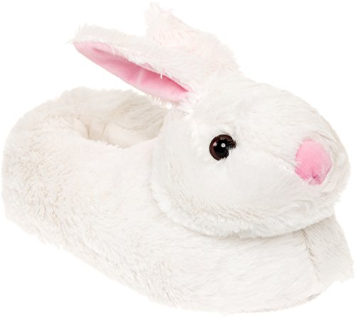 Silver Lilly Classic Bunny Slippers - Plush Animal Slippers (White, XL) -