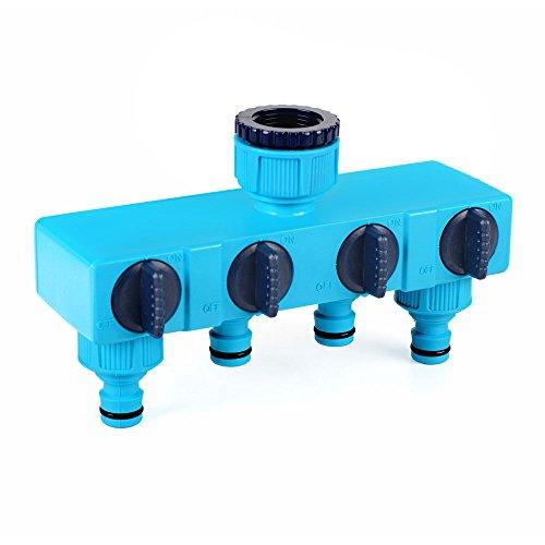 4 Way 1/2 3/4 Outdoor Water Tap to Garden Hose Lock Connector Splitter Adaptor