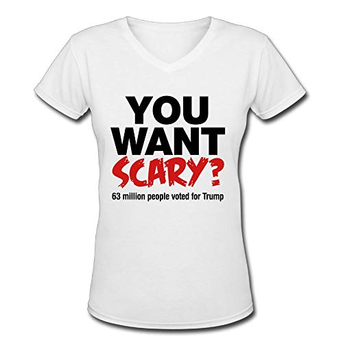 TangChuan Men's You Want Scary 63 Million People Voted for Trump Halloween Funny V-Neck T-Shirt ()