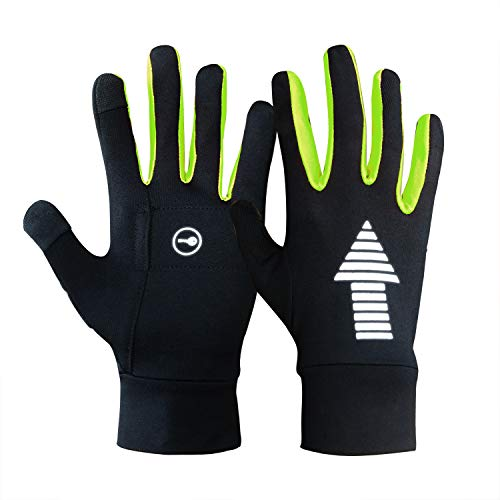 Evridwear Running Cycling Driving Outdoor Indoor Thermal Warm Lightweight Touchscreen Gloves for Men and Women (Lime)
