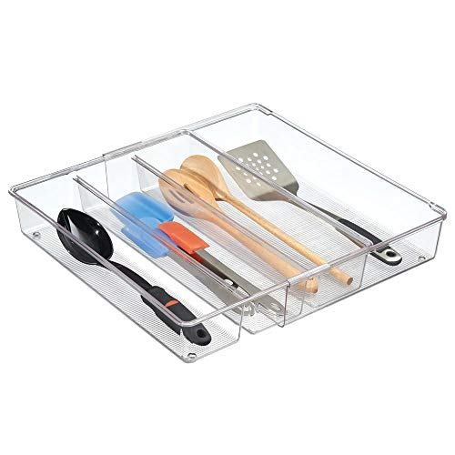 mDesign Adjustable, Expandable 4 Compartment Kitchen Cabinet Drawer Organizer Tray – Divided Sections for Cutlery, Serving Spoons, Cooking Utensils, Gadgets – BPA Free, Food Safe, 3″ Deep – Clear