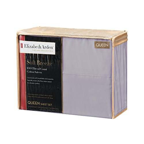 """Piece Home Spa 4 Collection (Elizabeth Arden Soft Breeze 400 Thread Count Cotton 4-Piece Sheet Set – Natural Pure Long-Staple Cotton – Soft & Silky – Deep Fitted Pocket Fits Mattress up to 18"""" - Queen - Lilac)"""