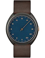 slow O 14 - Swiss Made one-hand 24 hour watch - Anthracite with dark brown leather band