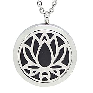 Jinney Womens Essentail Oil Locket Aromatherapy Romatic Stainless-steel Pendant Necklaces, Silver, 30 mm, Lotus Pattern