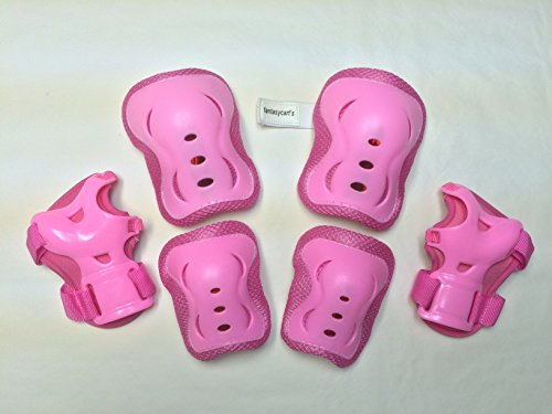 Fantasycart's Children/Kid's Cycling Inline & Roller Skating Knee Elbow Wrist Protective Pads in Pink Knee And Elbow Pads