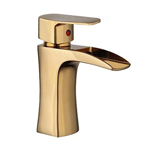 Wovier Gold Waterfall Bathroom Sink Faucet,Single Handle Single Hole Vessel Lavatory Faucet,Basin Mixer Tap by (Gold Vessel Lavatory Spouts)