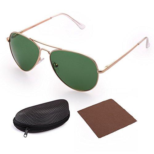 LotFancy Sunglasses for Women (Polarized Gold Frame Green Lens, 58mm)