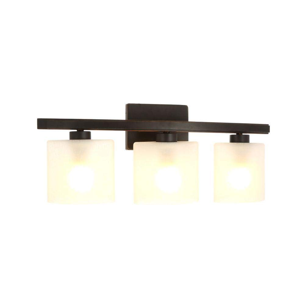 Hampton Bay DTH1313A-2 ORB Ettrick 3-Light Bathroom Vanity Light Fixture in Oil-Rubbed Bronze with Linen Glass Shades