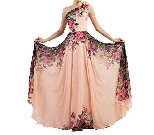 Evening Dresses Stock One Shoulder Flower Pattern Floral Print Chiffon Evening Dress Gown Party Prom