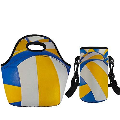 Coloranimal Insulated Lunch Tote Purse with Water Bottle Sleeve Volleyball Pattern