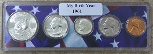 1961 - 5 Coin Birth Year Set in American Flag Holder - 1961 Coin