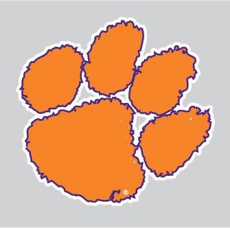 26973cf4ea65 Amazon.com: Clemson Tigers Purple Outlined TIGER PAW Logo 4
