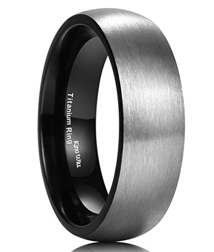 King Will 7MM Titanium Ring Brushed Black Plated Comfort Fit Wedding Band For Men (11.5)