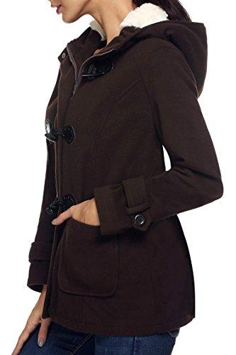 Pullover Jacket Parka de Sudadera con Invierno Casual Capa Marrón Chaqueta Abrigo Oscuro Capucha ANGVNS Lana xw7vfnSqq