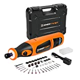 EnerTwist 8V Max Cordless Rotary Tool Kit Lithium-Ion Battery Powered Variable Speed Micro Drill Set with Front LED Worklight and 40 Accessories for Crafting Drilling and DIY Projects, ET-RT-8