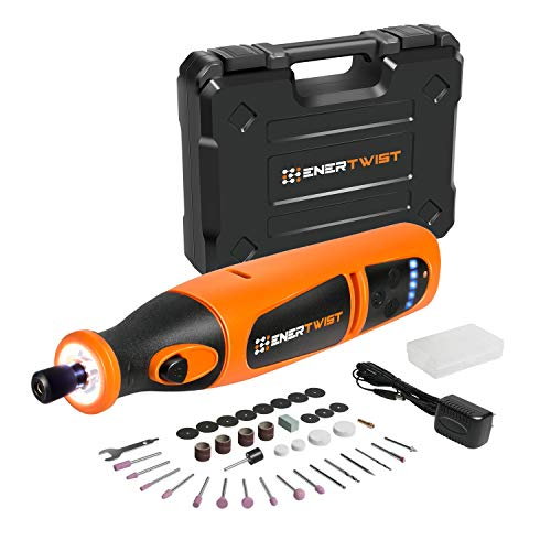 EnerTwist 8V Max Variable Speed Cordless Rotary Tool Kit Lithium-Ion Battery Powered with Front LED Worklight and 40 Accessories for Pet Grooming and Light-duty Crafting Projects, ET-RT-8