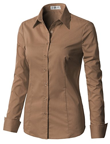 CLOVERY Women's Long Sleeve Slim Fit Button Down Dress Shirt with Plus Size Khaki ()