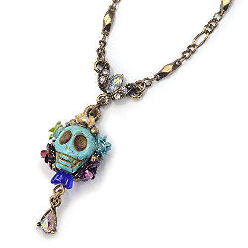 Sweet Romance Turquoise Sugar Skull Pendant Necklace - Day of The Dead Mexican - Mexican Turquoise Pendant