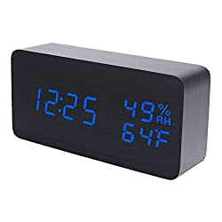 Raercodia Wooden Alarm Clock Modern Wood Digital Clock Electronic Desk Clock LED Display Time Date Temperature Humidity Voice Control 3 Alarms 3 Brightness for Home Office Kids(Black,Blue Display)