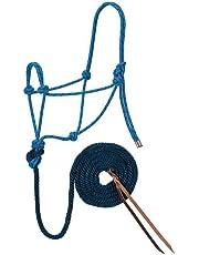 Weaver Leather Diamond Braid Rope Halter and Lead, Hurricane Blue/Dark Red/Navy