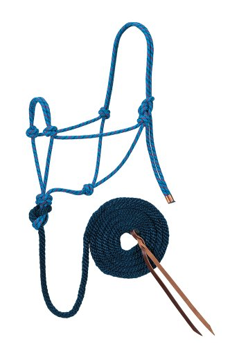 Weaver Leather Diamond Braid Rope Halter and Lead, Hurricane Blue/Dark - Dark Rope