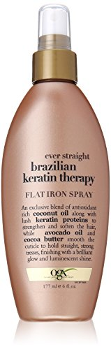 OGX Flat Iron Spray, Ever Straight Brazilian Keratin Therapy, 6oz