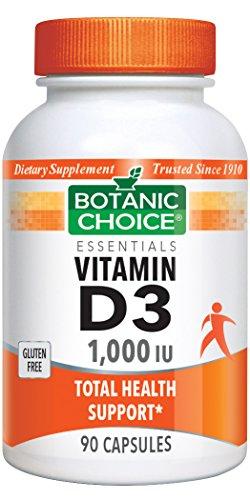 Botanic Choice Vitamin D-3 1000 IU, 90 Capsules (Pack of 3)