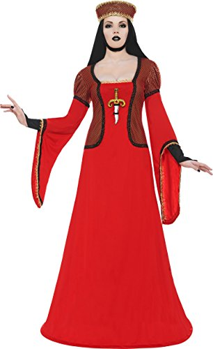 Smiffy's Lady Assassin In Waiting Costume, Red/Black/Gold, Large (Alien Princess Costume)