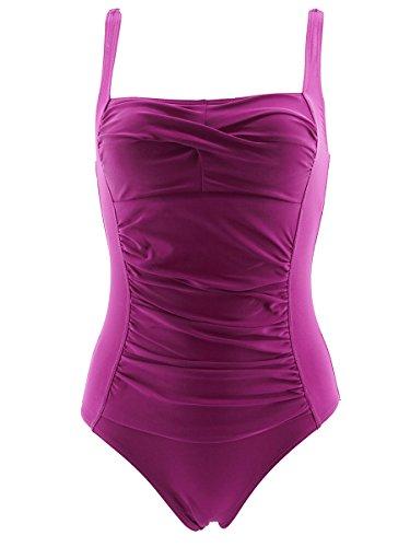 Summer Mae Traje de baño Elegante Adelgazante Una Pieza Push up para Mujer Púrpura