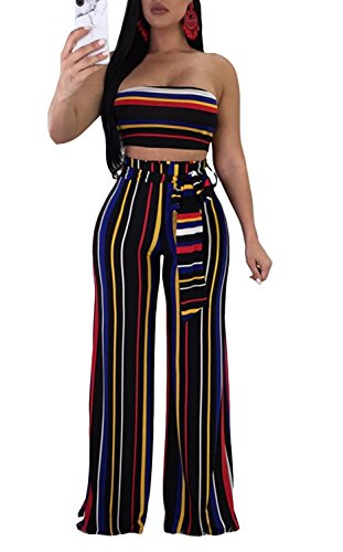 Cutedi Womens Sexy Rainbow Stripe Print Bodycon Strapless 2 Piece Outfits Jumpsuits Tube Crop Top and Wide Leg Long Pants Set