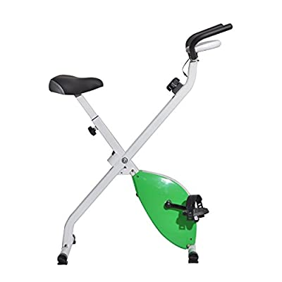 Soozier Indoor Folding Upright Magnetic Exercise Bike with LCD Monitor