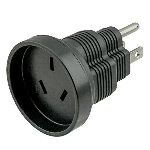 ACA1005 Australia AS3112 3 Prong to USA NEMA 5-15 Travel Plug Adapter; Adapts an Australia AS3112 Device into a USA NEMA 5-15 Inlet
