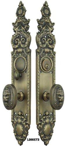 Victorian Heraldic Doorplate with Pavia Lion Knob Entry Door Set (L26SET2)