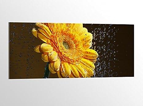 Alluminio dibond fiore gerbera giallo acqua gocce astratto