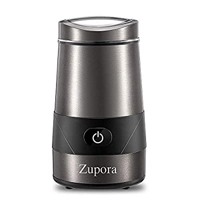 Electric Coffee Grinder, Zupora Spice and Coffee Grinder with Stainless Steel Blades and Cleaning Brush (200W), Silver