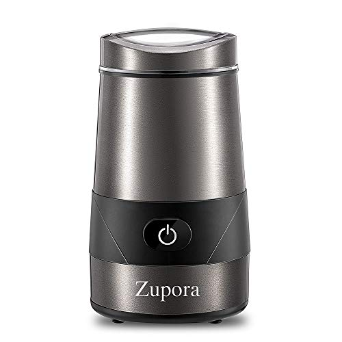 (Electric Coffee Grinder, Zupora Spice and Coffee Grinder with Stainless Steel Blades and Cleaning Brush (200W), Silver )
