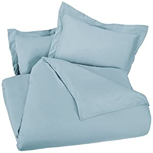 AmazonBasics Microfiber Duvet Cover Set - Full/Queen, Spa Blue