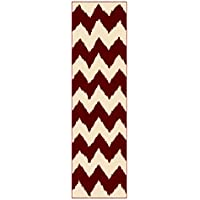 Custom Size RED Chevron Zig Zag Rubber Backed Non-Slip Hallway Stair Runner Rug Carpet 22 inch Wide Choose Your Length 22in X 12ft