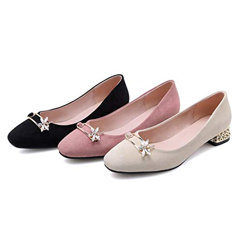 MIOKE Women's Casual Low Heels Slip-On Loafers Square Toe Rhinestone Suede Comfortable Flats Pump Shoes