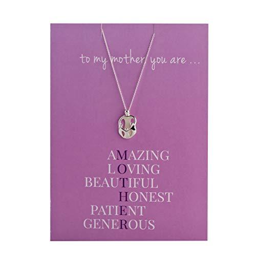925 Silver Loving Family Greeting Card Pendant 18