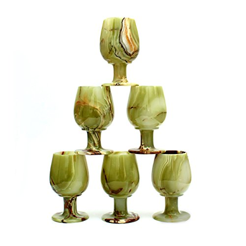 Natures Artifacts Multi Green Onyx Wine Glass - 6 Pc Beautiful Gift Set - 100% Natural Stone