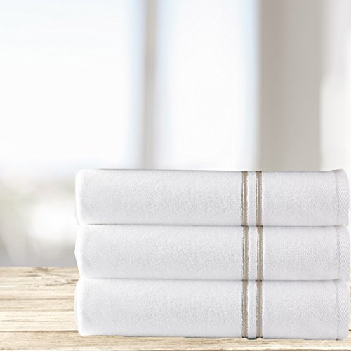 Kassatex Carrara Double Line Embroidered Turkish 6 Piece Towel Set, 100% combed long staple Turkish cotton - 2 Bath, 2 Hand, 2 Wash | Bisque