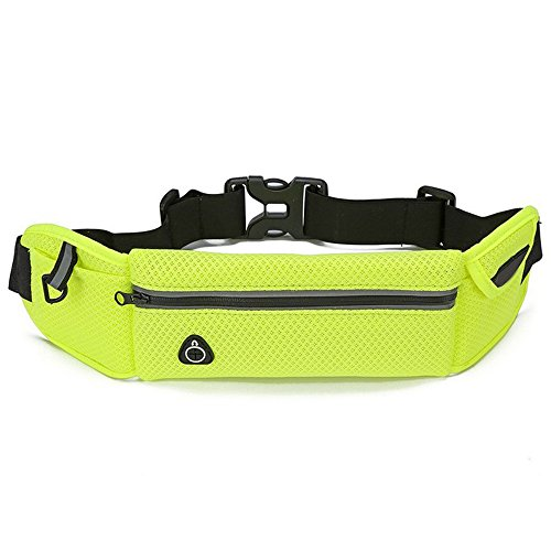 Running Pouch phone cards Bag Jogging Bag Reflective and Fitness 1 Waist Breathable Sweat cell Yellow Earphone belt Cycling with Belt Travel Pouch Hole Waist proof Type Hiking Sport Sijueam Carry cash qZpzU