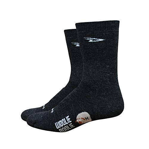 (DEFEET Men's Woolie Boolie 6-Inch Sock, Charcoal, Large)