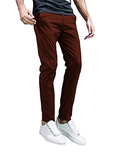 Match Mens Slim-Tapered Flat-Front Casual Pants (30, 8105 Tan)